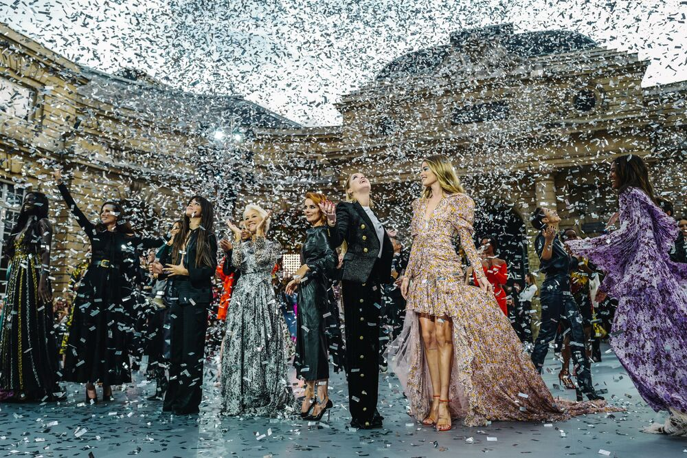 (From 2ndL) US actress Andie MacDowell, British singer Cheryl, Cuban-US singer Camilla Cabello, British actress Helen Mirren, British singer Geri Horner, US actres Amber Heard, Dutch model Doutzen Kroes and Ethiopian model Liya Kebede present creations for L'Oreal during the Women's Spring-Summer 2020 Ready-to-Wear collection fashion show at the Monnaie de Paris, in Paris on September 28, 2019.