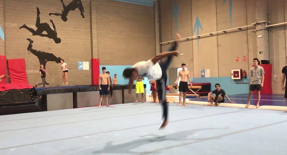 Twenty Back-Flips Off One Foot