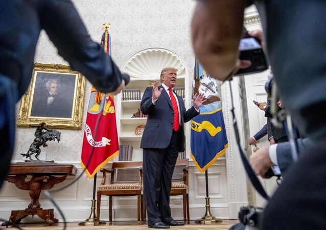 President Donald Trump speaks to the press as he departs a ceremonial swearing-in ceremony for new Labor Secretary Eugene Scalia in the Oval Office of the White House in Washington, Monday, 30 September 2019