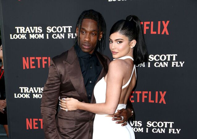 Travis Scott and Kylie Jenner attend the Travis Scott: Look Mom I Can Fly Los Angeles Premiere at The Barker Hanger on August 27, 2019 in Santa Monica, California