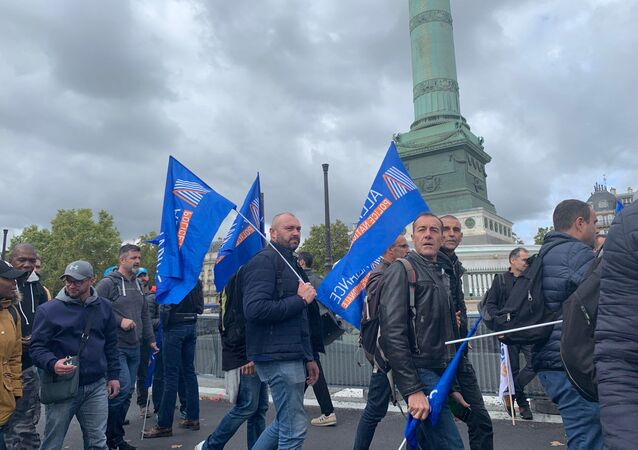 French police unions rally in Paris