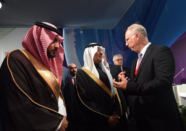 Kirill Dmitriev, Chief Executive Officer, Russian Direct Investment Fund (RDIF) and His Royal Highness Prince Abdulaziz bin Salman bin Abdulaziz Al Saud — Minister of Energy, Industry and Mineral Resources of the Kingdom of Saudi Arabia ahead of RDIF Panel Session Global Energy: New Alliances at Russian Energy Week