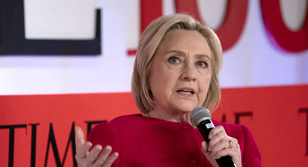 In this file photo taken on April 23, 2019 former US Secretary of State Hillary Clinton speaks during the Time 100 Summit event  in New York.