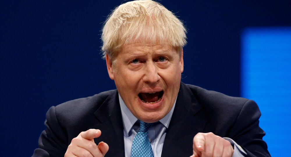 Britain's Prime Minister Boris Johnson gives a closing speech at the Conservative Party annual conference in Manchester, UK, 2 October 2019..