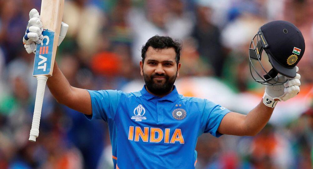 FILE PHOTO: Cricket - ICC Cricket World Cup - Bangladesh v India - Edgbaston, Birmingham, Britain - July 2, 2019   India's Rohit Sharma celebrates his century