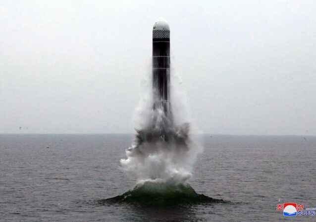 What appears to be a submarine-launched ballistic missile (SLBM) flies in an undisclosed location in this undated picture released by North Korea's Central News Agency (KCNA) on October 2, 2019