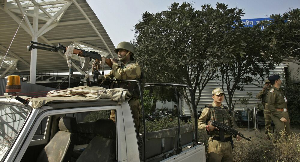 Indian paramilitary soldiers stand guard during heightened security checks at a domestic airport in New Delhi, India (File)