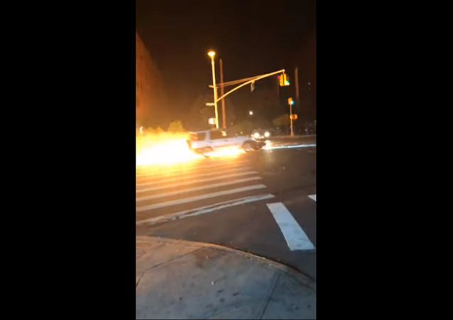 Motorcycle Meets Fiery End After Getting Stuck Under Truck