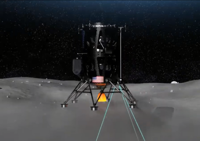 Image shows rendering of Intuitive Machines' Nova-C lunar lander touching down on Earth's moon.