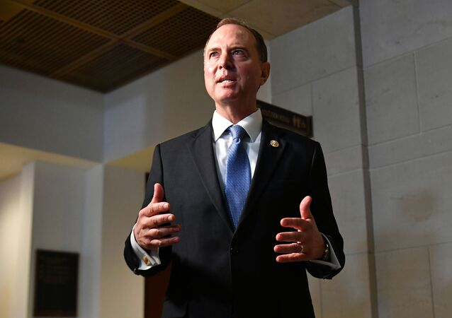 House Intelligence Chair Adam Schiff, D-CA, speaks to reporters after stepping out of a meeting with former special representative to Ukraine Kurt Volker at the US Capitol in Washington, DC on October 3, 2019.