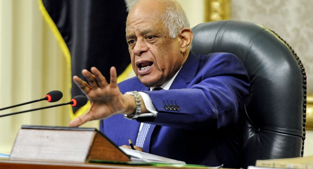 Egypt's Parliament Speaker Ali Abdel-Aal chairs a parliament plenary session to deliberate the proposed constitutional amendments to increase office term durations for the country's president from four to six years, in the capital Cairo on February 14, 2019