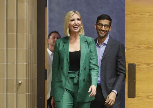 White House senior adviser Ivanka Trump, left, arrives with Google CEO Sundar Pichai for a round table discussion at El Centro College in Dallas, Thursday, Oct. 3, 2019