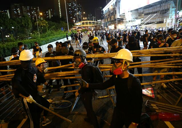 Anti-government protesters set up a barricade in Wong Tai Sin district, in Hong Kong, China October 4, 2019