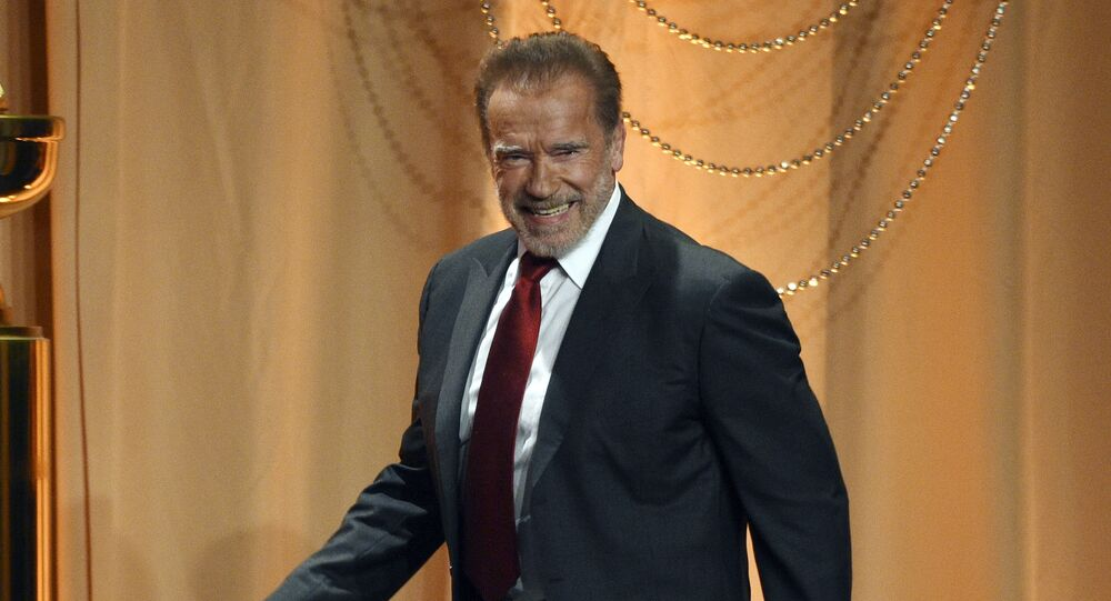 Host Arnold Schwarzenegger arrives onstage at the 2019 Hollywood Foreign Press Association's Annual Grants Banquet at the Beverly Wilshire Hotel, Wednesday, July 31, 2019, in Beverly Hills, Calif.