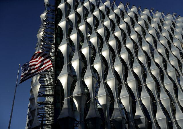 The Stars and Stripes flies outside the new United States Embassy building in London