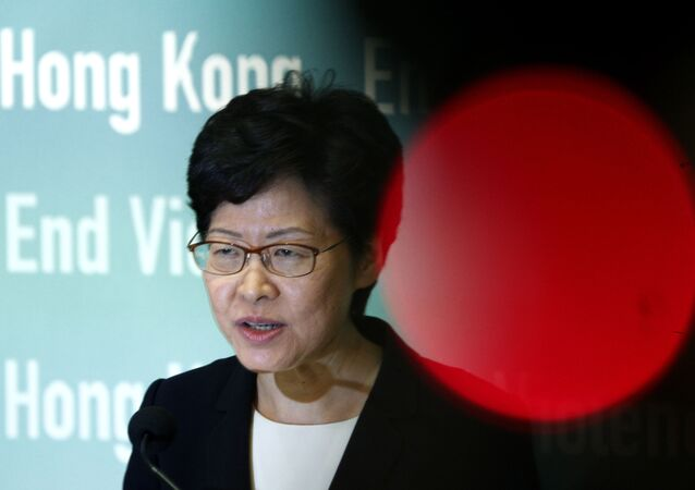 Hong Kong Chief Executive Carrie Lam speaks during a press conference held in Hong Kong on Friday, Oct. 4, 2019