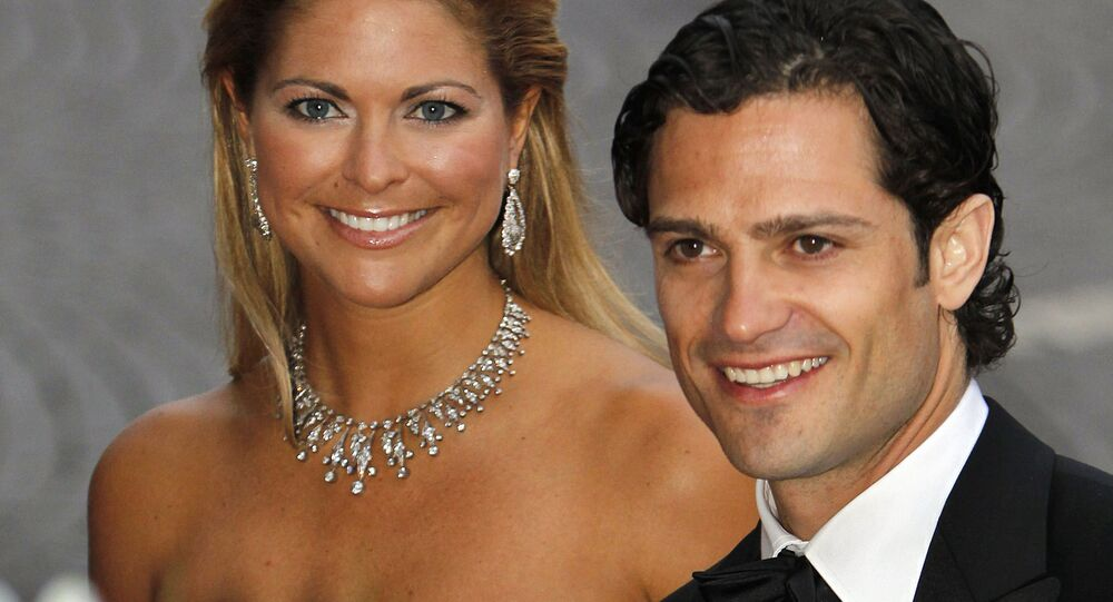 Sweden's prince Carl Philip and princess Madeleine arrive for a Gala Performance in Stockholm Concert Hall in Stockholm on 18 June 2010, at the start of the weekend's wedding celebrations. Crown Princess Victoria married Daniel Westling on 19 June 2010