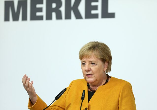 German Chancellor Angela Merkel speaks during her visit of Herrenknecht AG in Schwanau, Germany, October 7, 2019