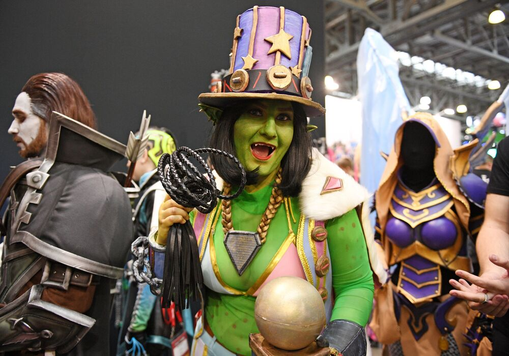 Cosplayers during the IgroMir 2019 exhibition and the Comic Con Russia 2019 festival at the Crocus Expo international exhibition centre in Moscow.