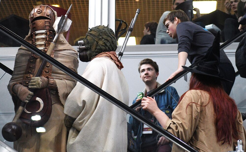 Visitors and cosplayers at the IgroMir 2019 exhibition and the Comic Con Russia 2019 at the Crocus Expo international exhibition centre in Moscow.