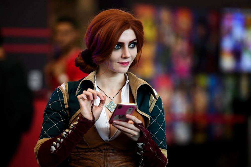 A cosplayer during the IgroMir 2019 exhibition and the Comic Con Russia 2019 festival at Crocus Expo international exhibition centre in Moscow