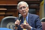Senate Majority Leader Mitch McConnell, R-Ky., right, and former White House counsel Donald McGahn address the Kentucky chapters conference of The Federalist Society at the Kentucky State Capitol in Frankfort, Ky., Monday, Oct. 7, 2019