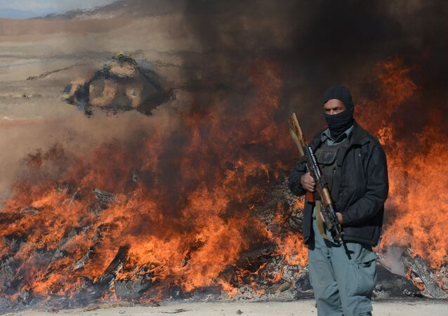 This photo taken on December 19, 2012 shows an Afghan policeman standing guard as a pile of narcotics is burned by officials on the outskirts of Jalalabad Nangarhar province
