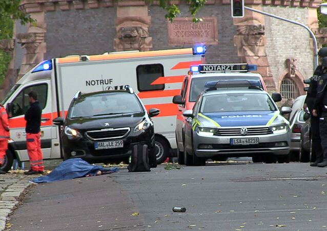 Police secures the area after a shooting in the eastern German city of Halle on 9 October 2019