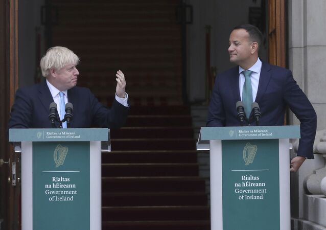 Britain's Prime Minister Boris Johnson, left, meets with Ireland's Prime Minister Leo Varadkar