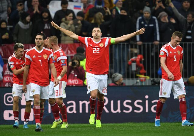 Russia's Artem Dzyuba celebrates after scoring a goal during the Euro 2020 Group I qualifying soccer match between Russia and Scotland, in Moscow, Russia.