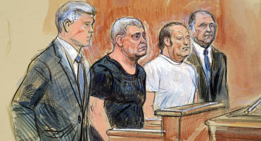 This courtroom sketch depicts from left, attorney Kevin Downing, Lev Parnas, Igor Fruman, and attorney Thomas Zehnle standing before U.S. Judge Michael Nachmanoff, at federal courthouse in Alexandria, Va., Thursday