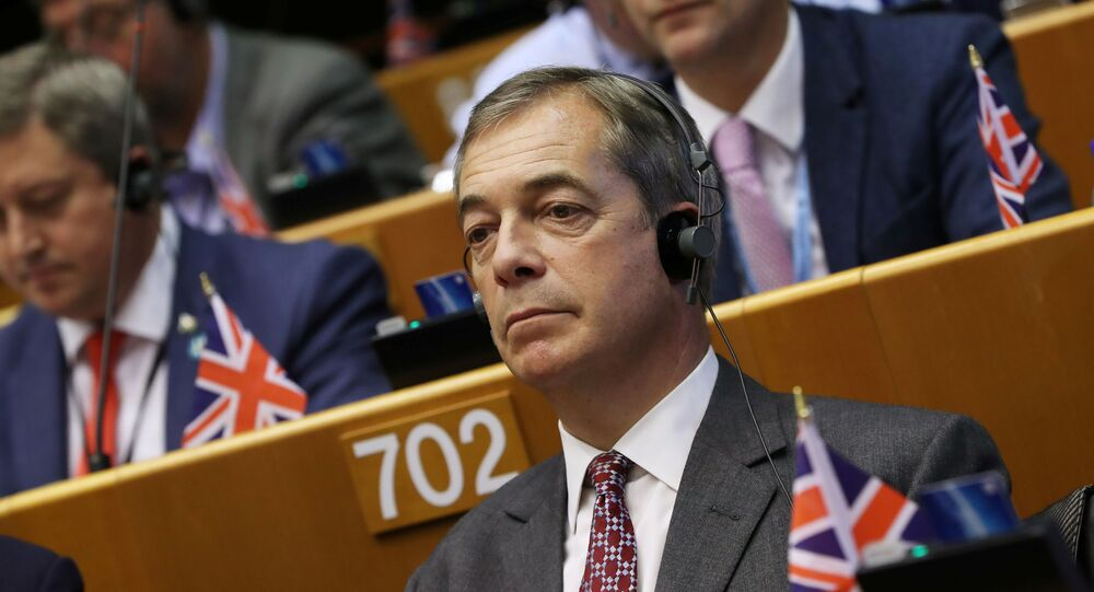 Britain's Brexit Party leader Nigel Farage attends a plenary session on preparations for the next EU leaders' summit at the European Parliament in Brussels, 9 October 2019