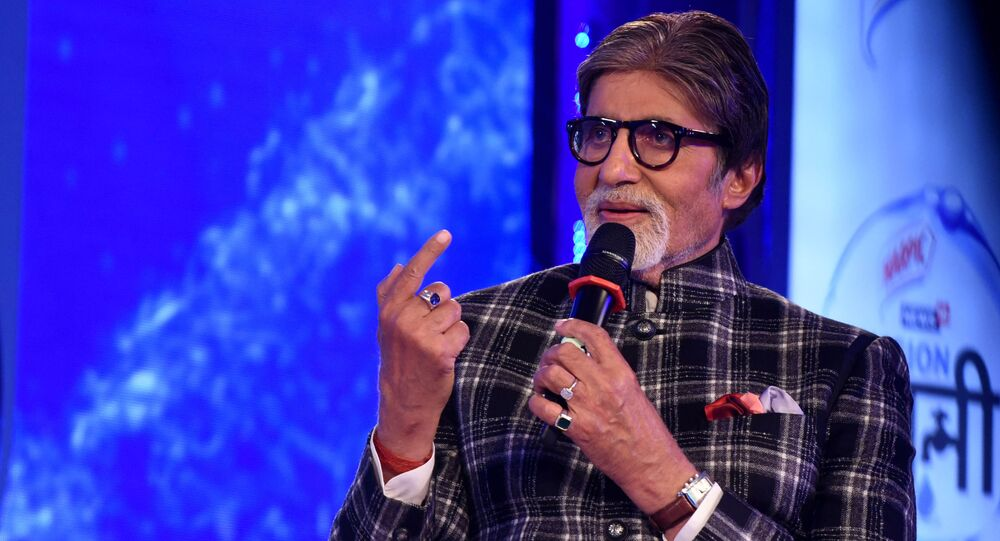 Indian Bollywood actor Amitabh Bachchan takes part in a launch event for the water conservation effort Mission Paani in Mumbai on August 27, 2019