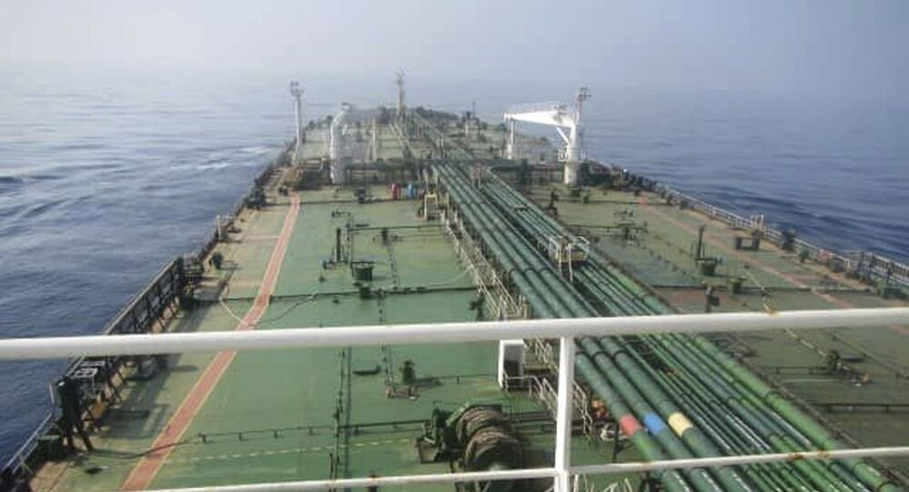This photo released by the official news agency of the Iranian Oil Ministry, SHANA, shows Iranian oil tanker Sabiti traveling through the Red Sea Friday, Oct. 11, 2019