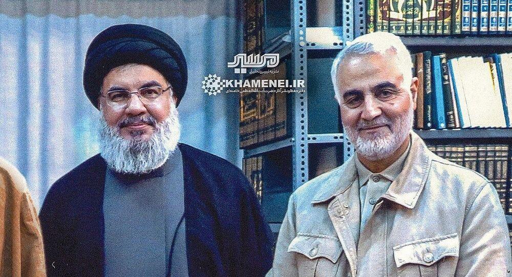Hezbollah chief Hassan Nasrallah and Islamic Revolutionary Guards Corps Quds Force commander Qassem Soleimani