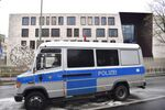 A police van parks in front of the Turkish embassy in Berlin