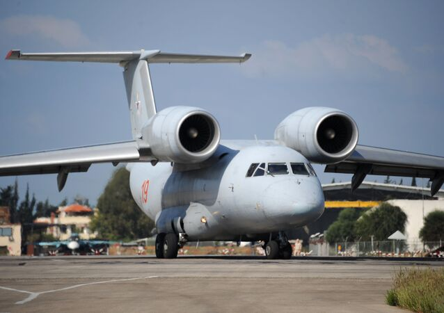 A Russian An-72 transport plane prepares to take off at the Russian military base of Hmeimim, located south-east of the city of Latakia in Hmeimim, Latakia Governorate, Syria, on September 26, 2019