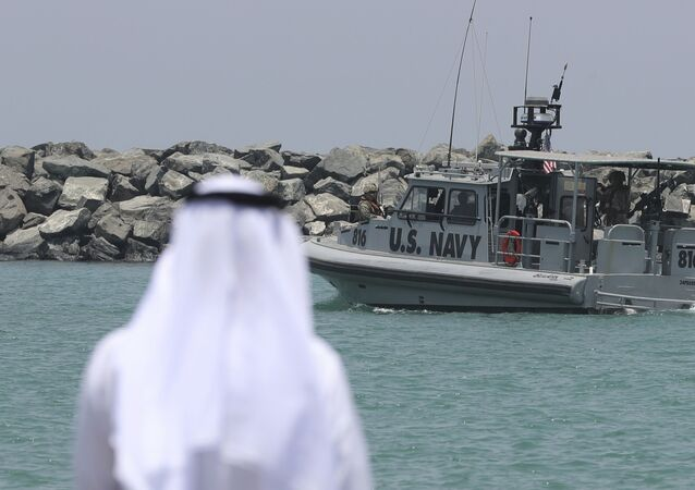 A U.S. Navy patrol boat carrying journalists to see damaged oil tankers leaves a U.S. Navy 5th Fleet base near Fujairah, United Arab Emirates, Wednesday, June 19, 2019
