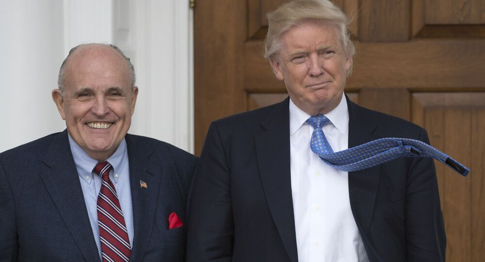 President-elect Donald Trump meets with former New York City Mayor Rudy Giuliani at the clubhouse of the Trump National Golf Club in Bedminster, New Jersey