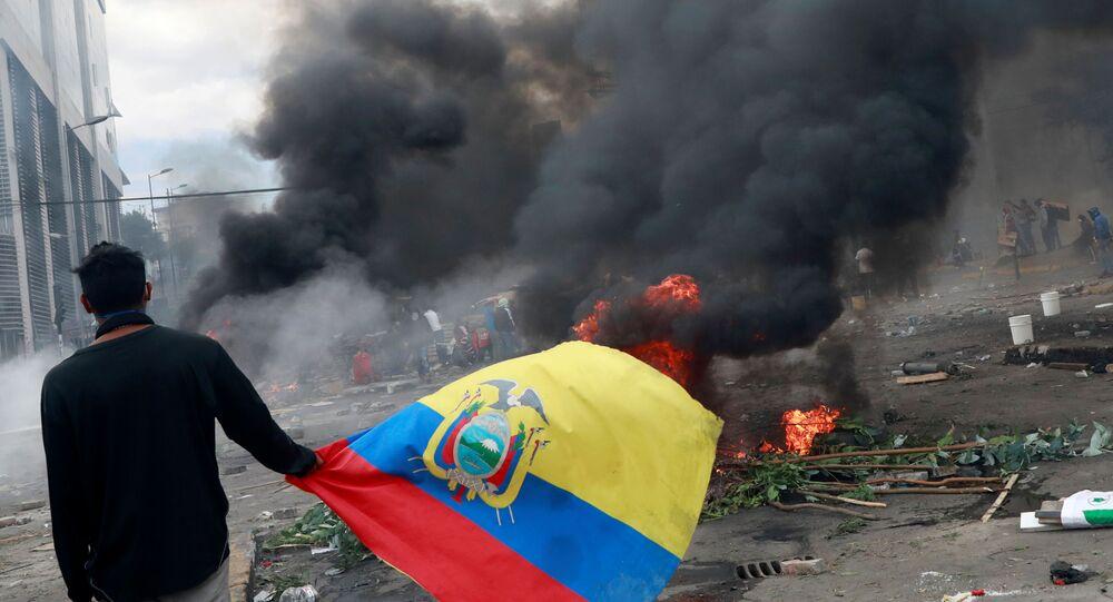 A demonstrator carries the Ecuadorian flag during a protest against Ecuador's President Lenin Moreno's austerity measures in Quito, Ecuador October 12, 2019.