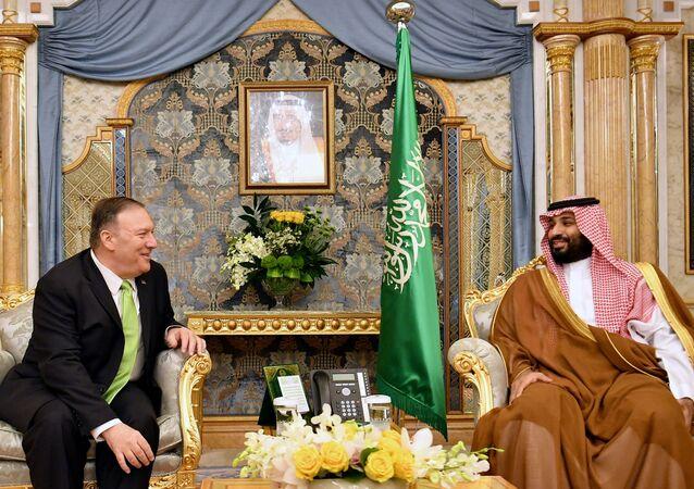 U.S. Secretary of State Mike Pompeo takes part in a meeting with Saudi Arabia's Crown Prince Mohammed bin Salman in Jeddah, Saudi Arabia, September 18, 2019.