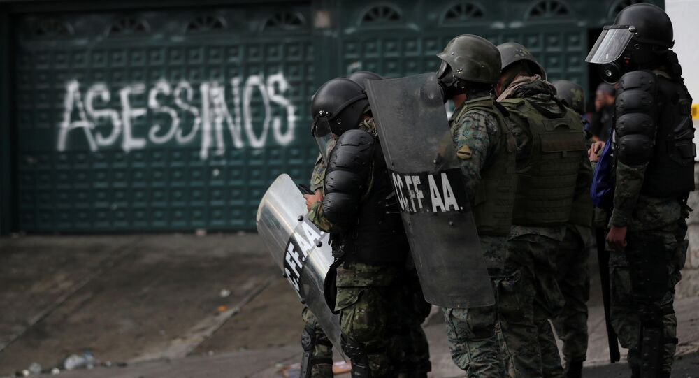 Soldiers gather during protests against Ecuador's President Lenin Moreno's austerity measures, in Quito, Ecuador October 13, 2019.