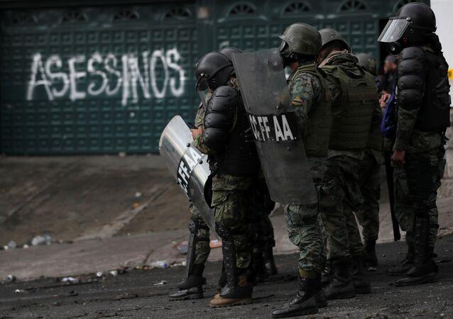 Soldiers gather during protests against Ecuador's President Lenin Moreno's austerity measures, in Quito, Ecuador October 13, 2019.