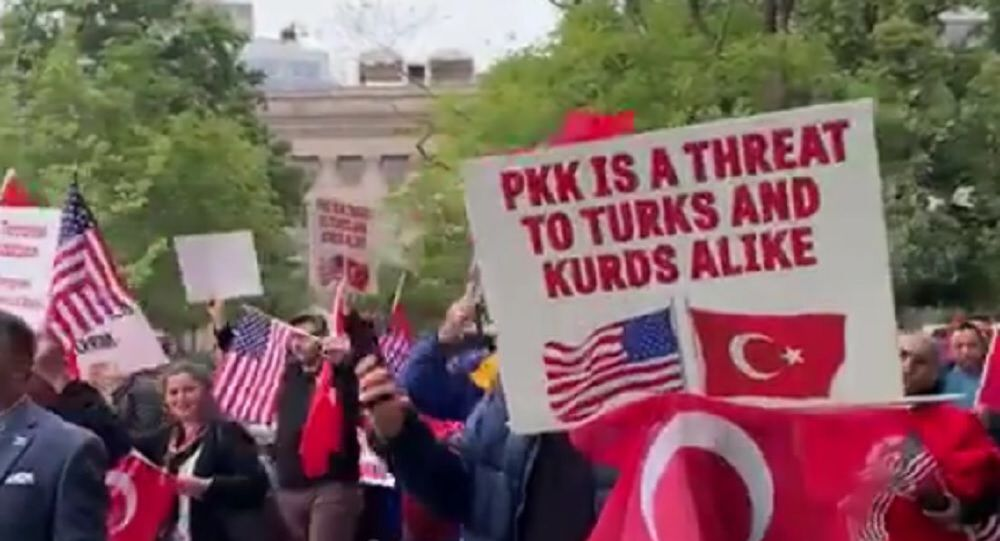 Dozens of people on Sunday, 13 October 2019, gathered in the vicinity of the White House in Washington DC to protest the Trump administration's stance on the ongoing Turkish military offensive in northern Syria.
