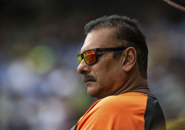 Head coach of the Indian cricket team Ravi Shastri during a play on day two of the third cricket test between India and Australia in Melbourne, Australia, Thursday, Dec. 27, 2018