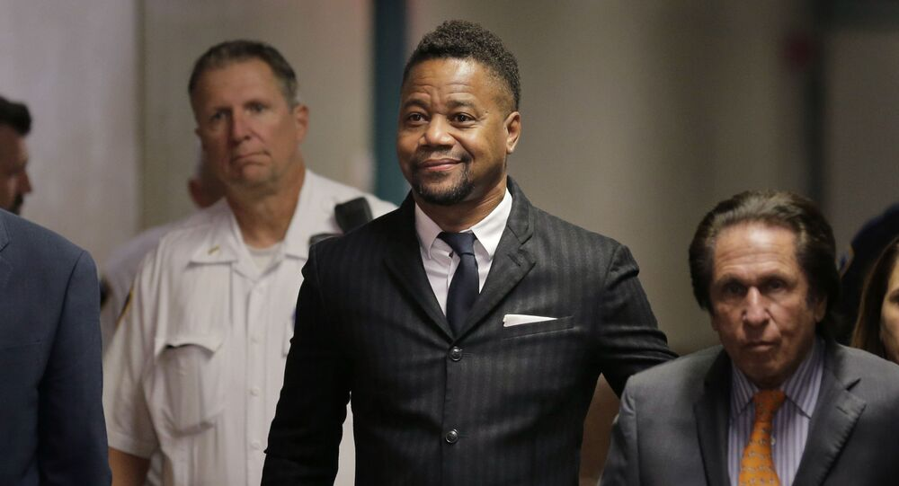 Cuba Gooding Jr. arrives to a courtroom in New York, Thursday, Oct. 10, 2019.   The actor is accused of placing his hand on a 29-year-old woman's breast and squeezing it without her consent in New York on June 9.