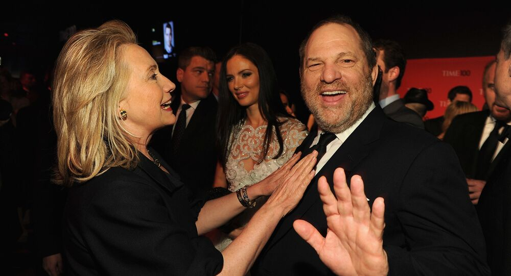 NEW YORK, NY - APRIL 24: Secretary of State Hillary Rodham Clinton and producer Harvey Weinstein attend the TIME 100 Gala, TIME'S 100 Most Influential People In The World, cocktail party at Jazz at Lincoln Center on April 24, 2012 in New York City