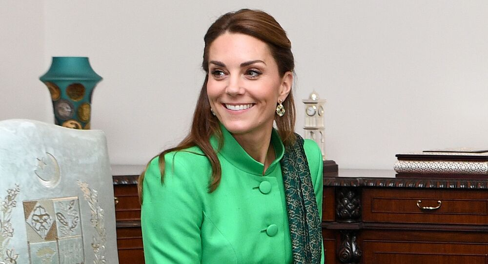 Britain's Catherine, Duchess of Cambridge attends a meeting with Pakistan's Prime Minister Imran Khan in Islamabad, Pakistan, October 15, 2019