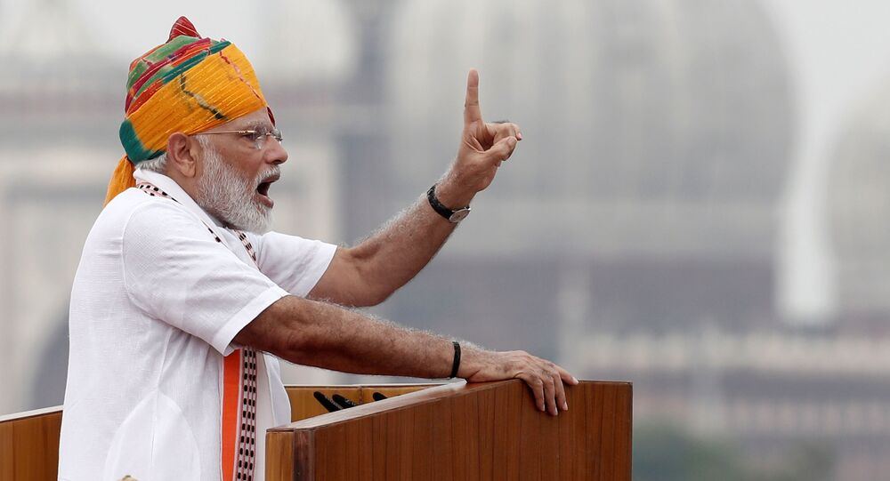Indian Prime Minister Narendra Modi addresses the nation during Independence Day celebrations at the historic Red Fort in Delhi, India, August 15, 2019