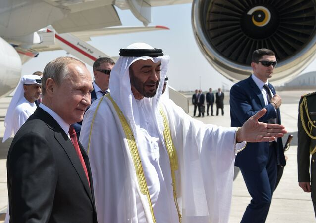 Crown Prince Mohammed bin Zayed Al Nahyan of Abu Dhabi welcomes Russian President Vladimir Putin